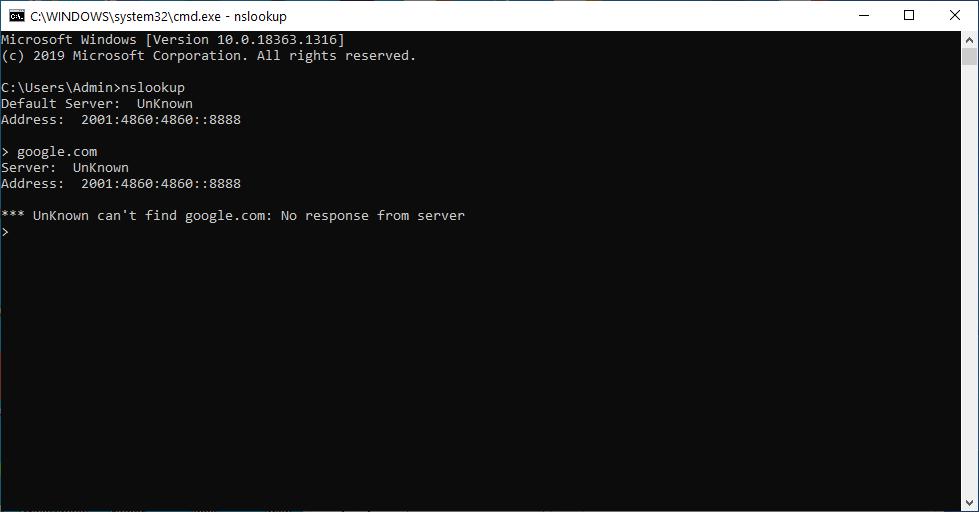lỗi nslookup không phân giải được tên miền
