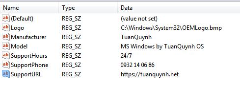 Chèn thông tin vào system properties window 7